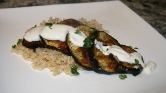 Eggplant with Tahini Yoghurt Dressing